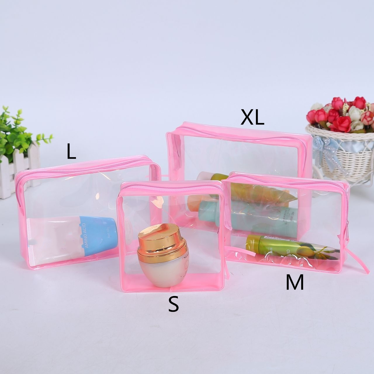 Fashion PVC Travel Cosmetic Bag Women Transparent Waterproof Beauty Neceser Toiletry Bath Wash Make Up Bag Case Organizer