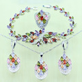 Reginababy Multi zircon Silver color Bridal Jewelry Set For Women Crystal Wedding Bracelet/Necklace/Earrings/Ring
