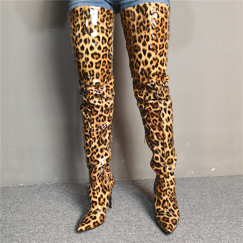 Luxury Brand Design Big Size 34-47 leopard Women Shoes Woman Sexy thin High Heels Shoes nightclub Women over the knee Boots