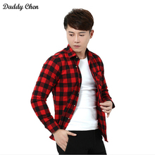 Dress shirt men slim fit style male for boys Casual shirts mens white red plaid long sleeve Grid cotton Classic designer Brand