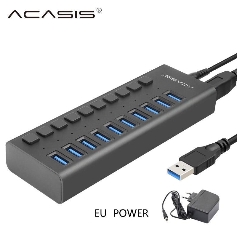 USB Hub Charger 10 Ports USB 3.0 / USB C Hub10 Ports Multi Splitter 12V/4A Fast Charger EU/US Power Adapter for Macbook Pro PC