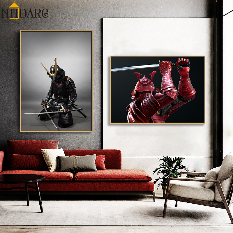 Japanese Samurai Sword Armor Posters and Prints Canvas Painting Art Wall Pictures for Living Room Home Decoration Cuadros(China)