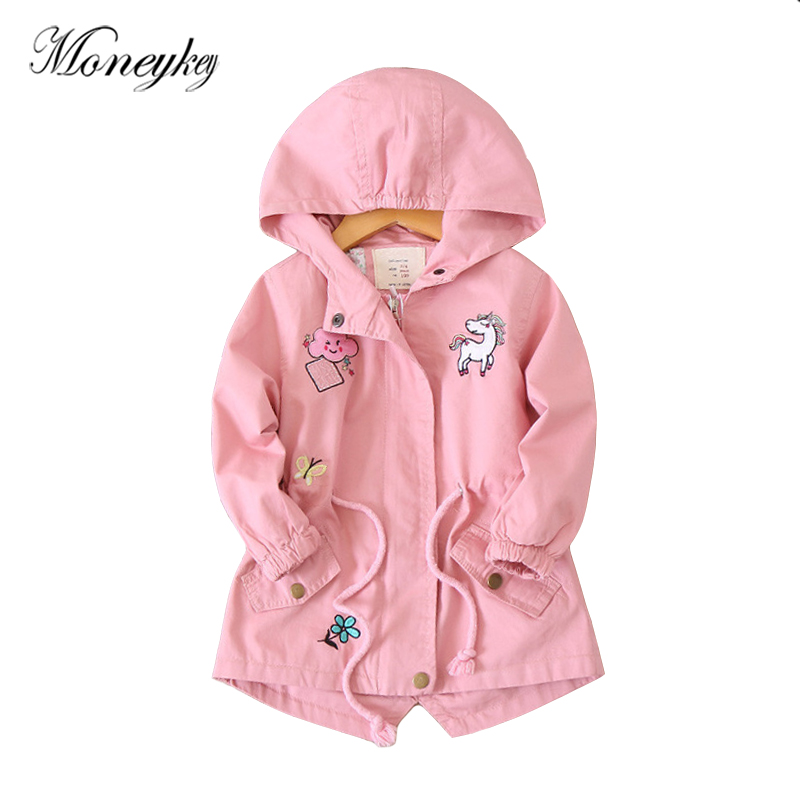 Brand Design Windbreaker For Girls Unicorn Embroidery Animal Patchwork Baby Girl Jackets Coats Hooded Autumn Children Outerwear
