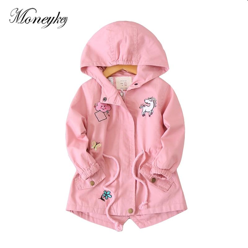design da marca blusao para meninas bordado unicornio animal patchwork bebe menina jaquetas casacos com capuz