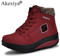 Akexiya Winter Women Sneakers With Fur Height Increasing Waterproof Running Shoes Outdoor Thermal Plush Sport Shoe for Girls
