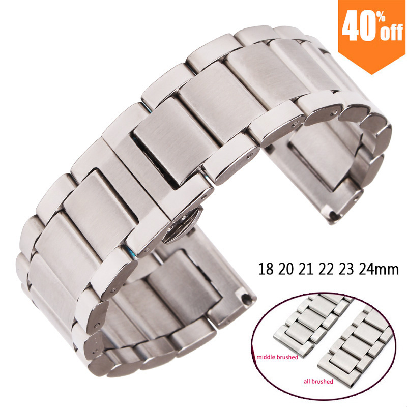 Metal Watch Bracelets Men High Quality Stainless Steel 18mm 20mm 21mm 22mm 23mm 24mm Watchbands Fashion Women Watch Strap Band high quality lowest price wholesale kz 19 pneumatic combination steel metal strapping packing machine for 19mm steel strap tape