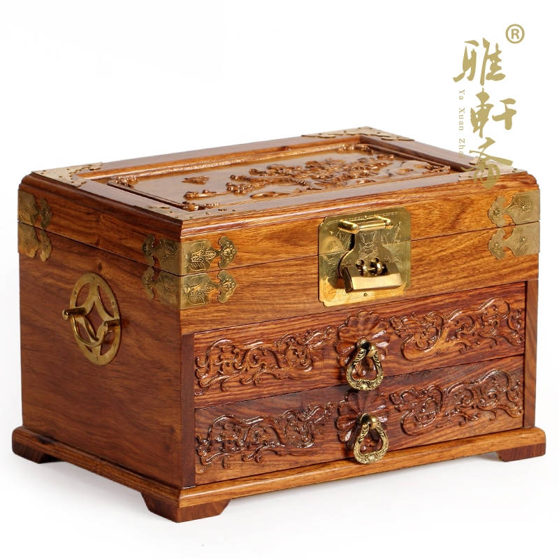 Vegetarian wedding carved mahogany wood Gallery wedding jewelry box jewelry box large Chinese wooden storage lock