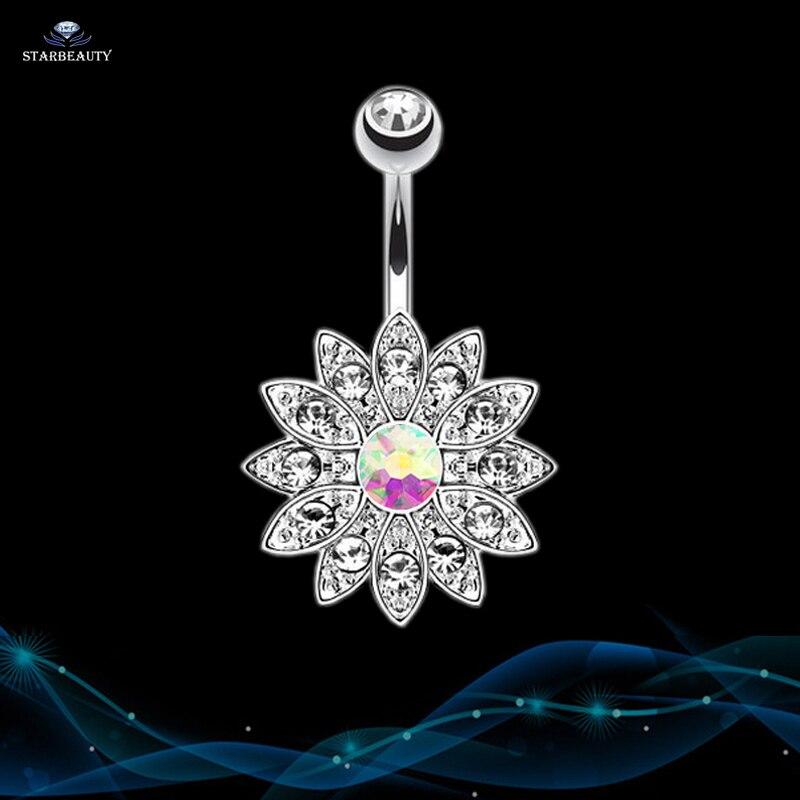 14G Sun Flower Petal Navel Piercing Ombligo Silver Rosa Kristall - Märkessmycken - Foto 3