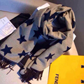 2017 Novo de alta qualidade xale de lã macia e quente dois lados estrela cashmere borla cachecol todo o jogo engrossar moda echarpe hiver femme