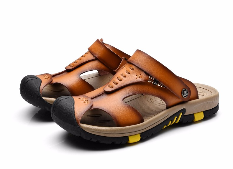 b47c36d20 ODMORP New Summer Shoes Men s Leather Sandals Brown Casual Beach Sandals  Slippers Flat Fashion Design Sandals Men Shoes IMG 9261 1680 27 1680 28 ...