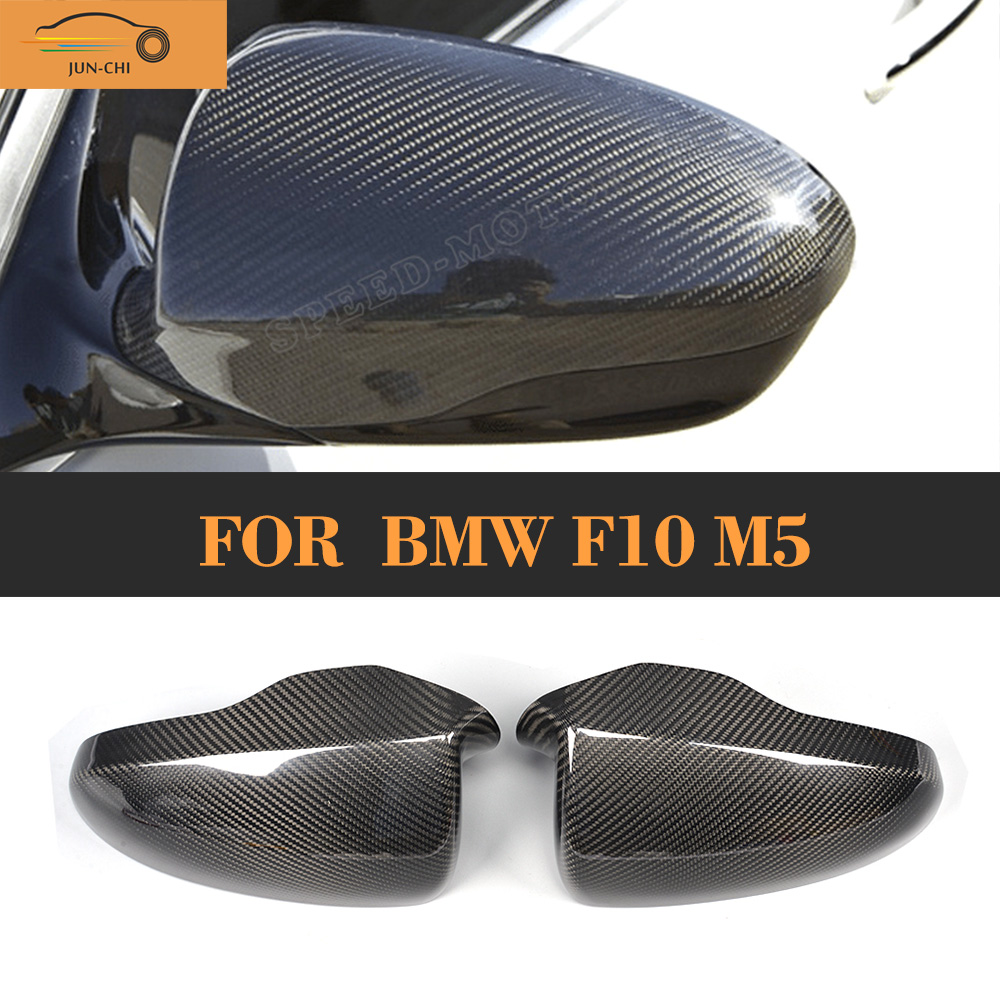 ФОТО Carbon Fiber Side Mirror Covers Caps for BMW F10 2012 2013 2014 M5 Add On Style Car Styling