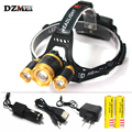 2017 New 8000 Lumen XM-L T6 LED Zoom Headlamp Hunting 4 Mode Head Light Lamp LED Headlight +2*18650 Battery + AC/Car Charger