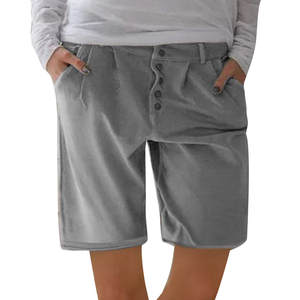 WOMAIL Shorts Pockets Linen Cool Cotton Fashion Casual And Gray Solid Z30604 New-Product