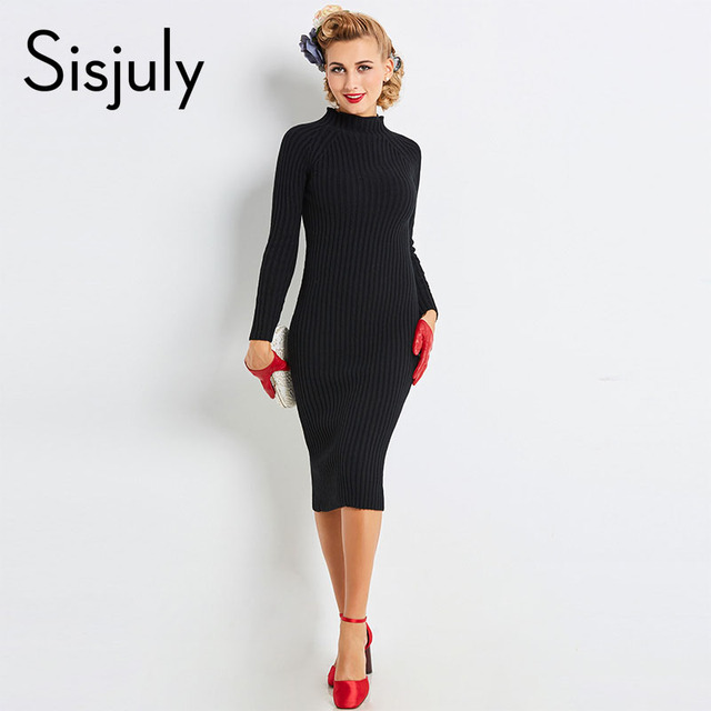 Sisjuly sweater bodycon dress 2018 women autumn mid-calf black turtleneck sheath knitted fabrics sexy fashion female bodycon new