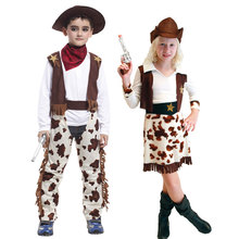 Umorden Purim Carnival Party Halloween Costumes Child Kids Western Cowboy Costume Cowgirl Cosplay for Boy Girl