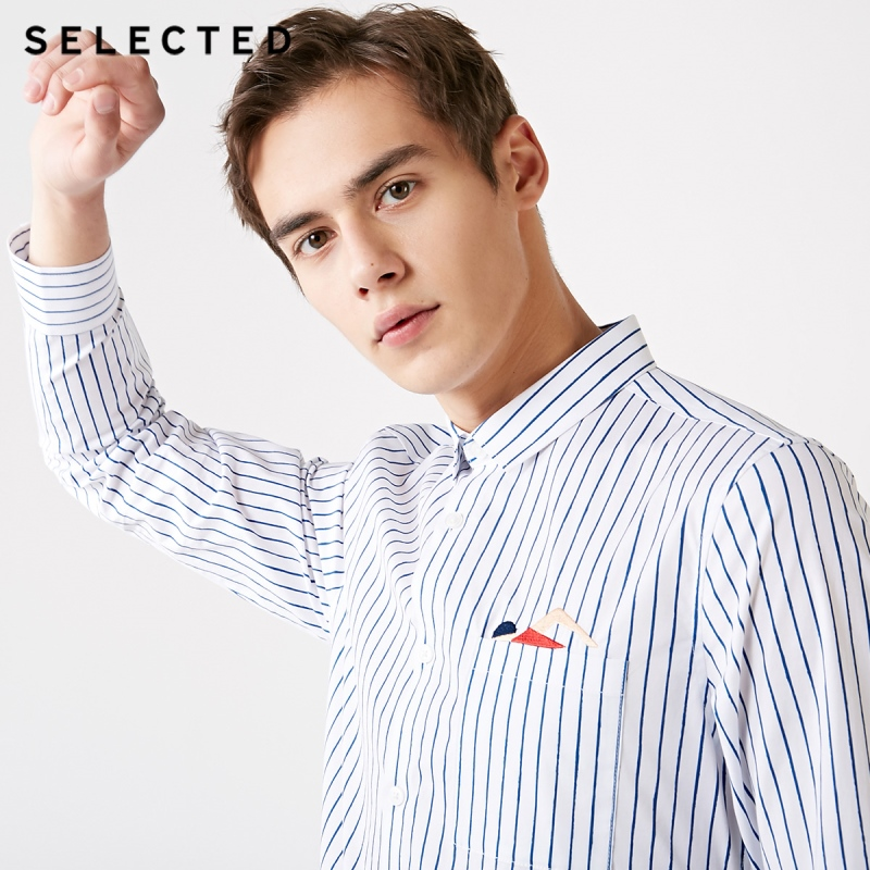 SELECTED Men's Spring Striped Embroidery Slim Fit Long-sleeved Shirt S|419105561