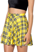 Free Shipping Tartan Yellow Plaid Skater Skirts Women Pleated Ball Gown Mini Skirts saias femininas