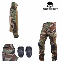Emersongear masculino militar airsoft bdu combate uniforme emerson tático gen3 camisa & calças joelheiras floresta