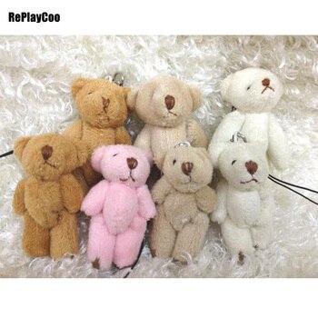 100pcs/lot Mini Teddy Bear Stuffed Plush Toys Small Bear Stuffed Toys With Chain 6CM pelucia Pendant Kids Birthday Gift 032
