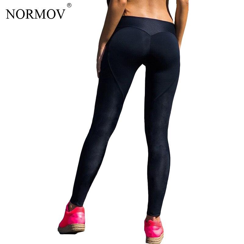 NORMOV Sexy Push Up Nero Leggings Donne Allenamento Maglia Patchwork Legging Femme Casual Pesca A Forma di Cuore Legging S-XL
