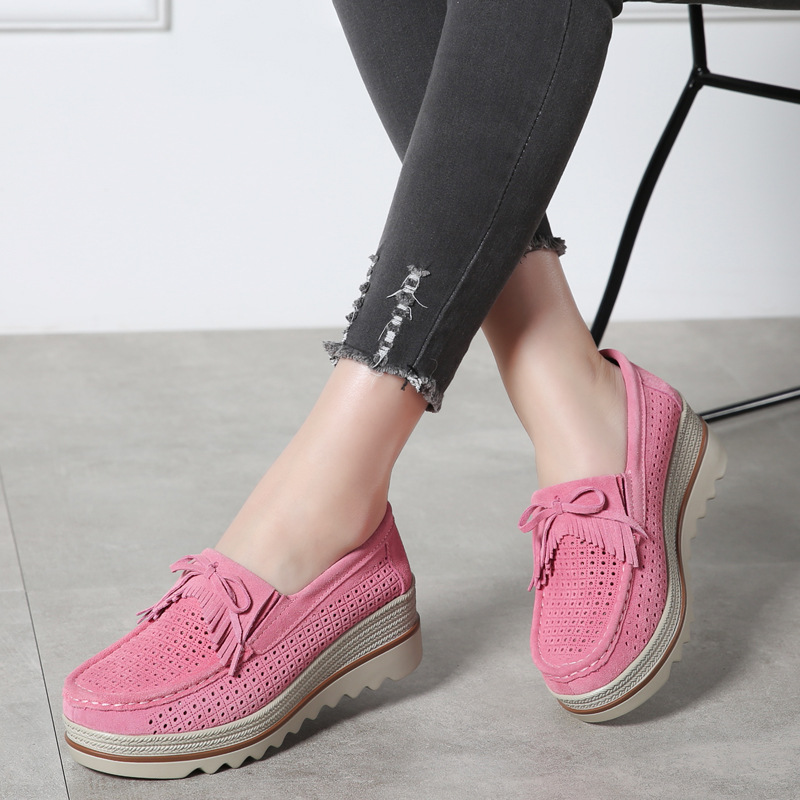 Slip on flats creepers moccasins 2018 fashion autumn women flats shoes platform shoes   leather     suede   casual shoes woman sneakers