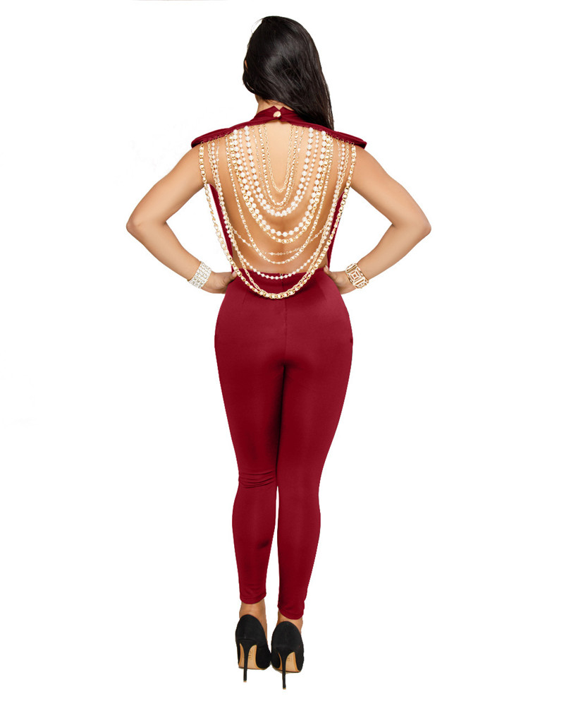 Fashion Vintage Pearl Chain Sexy Backless Jumpsuit Women Casual Party Sleeveless Slim Bodycon Jumpsuits Overalls 5 Colors Solid