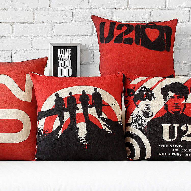 U2 Creative Red And Black Vintage British Linen Cotton Cushion   For Office Car Home Decorate Sofa Cushions