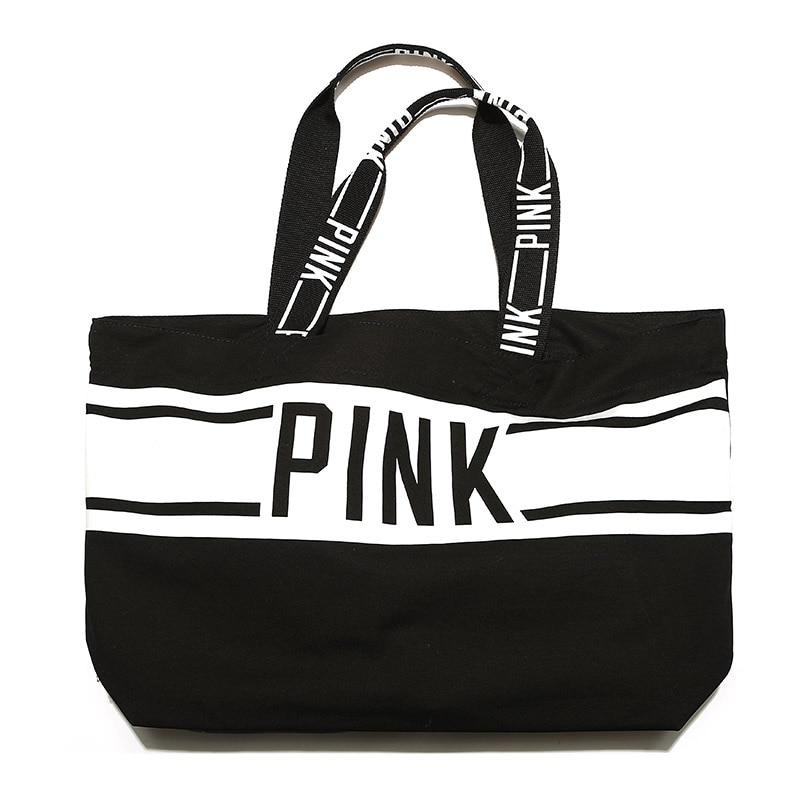 black  white CANVAS TOTE BAG 2018 LIMITED EDITION PINK STRIPED VS shopping  beach weekend holiday bag сумки для детей zipit сумка premium tote beach bag