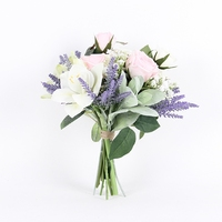 Hand Bouquet Silk Artificial Flowers Hybrid Home Party Wedding Table Decoration for Christmas New Year Gift Mix NO VASE F115