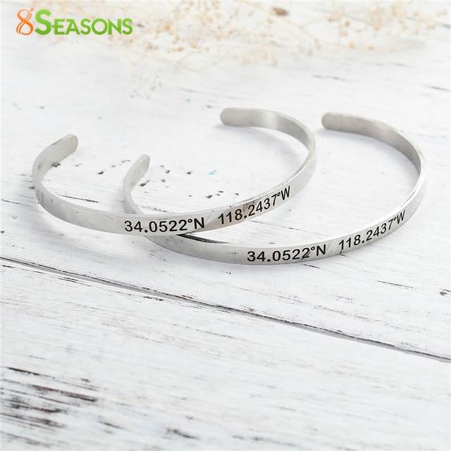 5830c8297bc6 8 Seasons Acero inoxidable coordenadas manguito abierto Brazaletes pulseras  plata color mensaje 17 cm (6