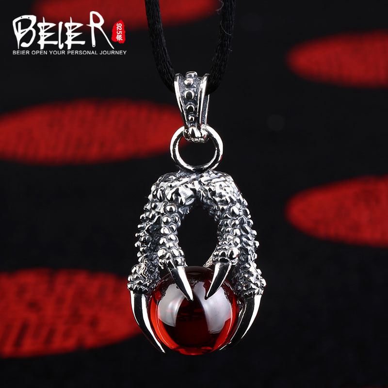 Classic hot style black and red Beier 925 silver sterling dragon claw pendant necklace free give rope fashion Jewelry A0818 цена