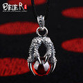 Classic hot style black and red Beier 925 silver sterling dragon claw pendant necklace free give rope fashion Jewelry  A0818