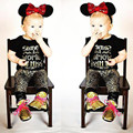 Cotton letter printed  short sleeve  o-neck pullover T - shirt + printed trousers baby suits