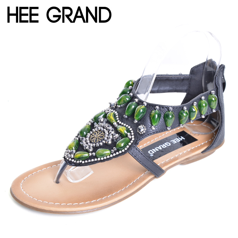 HEE GRAND Vintage Flip Flops 2017 Summer Bling Gladiator Sandals Green Rhinestone Slip On Casual Shoes Flats Woman XWZ3459 hee grand summer flip flops gladiator sandals slip on wedges platform shoes woman gold silver casual flats women shoes xwz2907