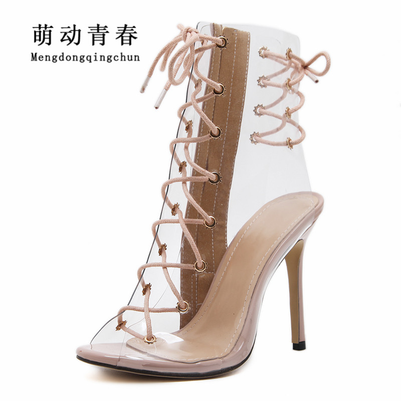 Women High Heels Shoes Gladiator Peep Toe Clear Transparent Party High Heels Shoes Fashion Lace Up Cross Tied Summer Women Pumps crystal high heels shoes platform transparent pvc cross strap women gladiator sandals square toe nightclub party wedding shoes