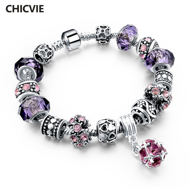 925 Silver Crystal Charm Bracelets for Women With Purple Murano Glass Beads bracelets & bangles Love DIY Jewelry Bracelet Femme
