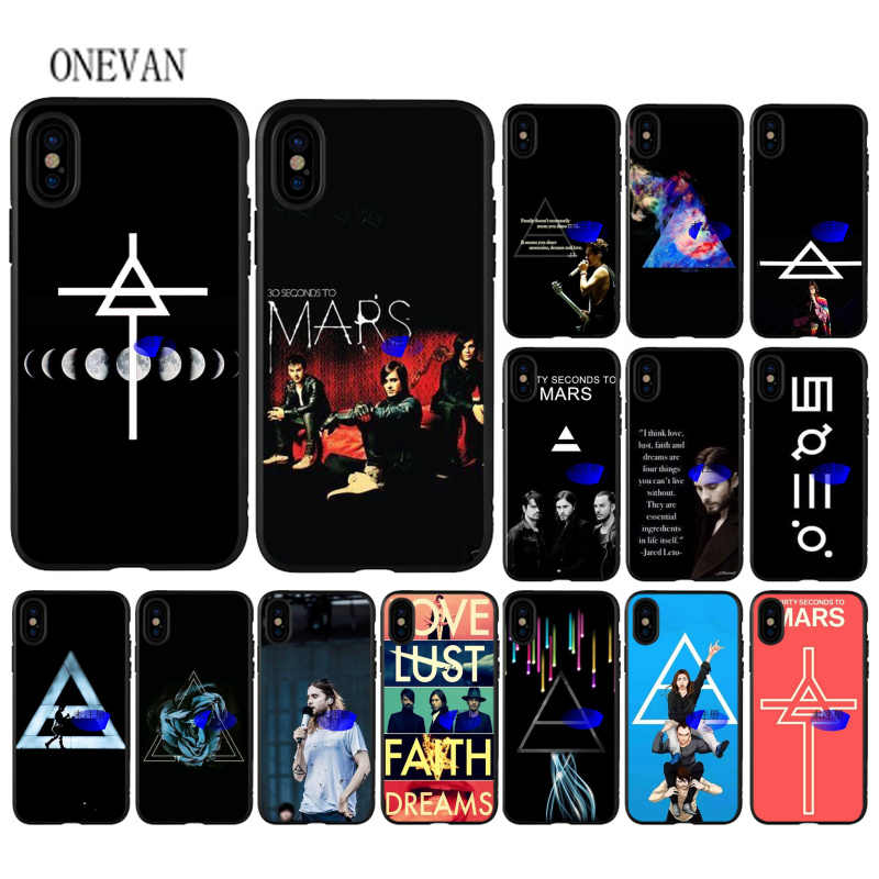 Thirty seconds to mars música banda black Caso de Telefone macio para iPhone 7 8 6 6 S Plus X XS MAX 5 5S SE XR Tampa