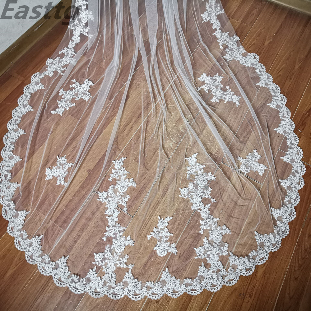 Image 5 - 2019 New Real Photos White/Ivory Bridal Veil Appliqued Mantilla velos de novia Wedding Veil Long With Comb Wedding AccessoriesBridal Veils   -