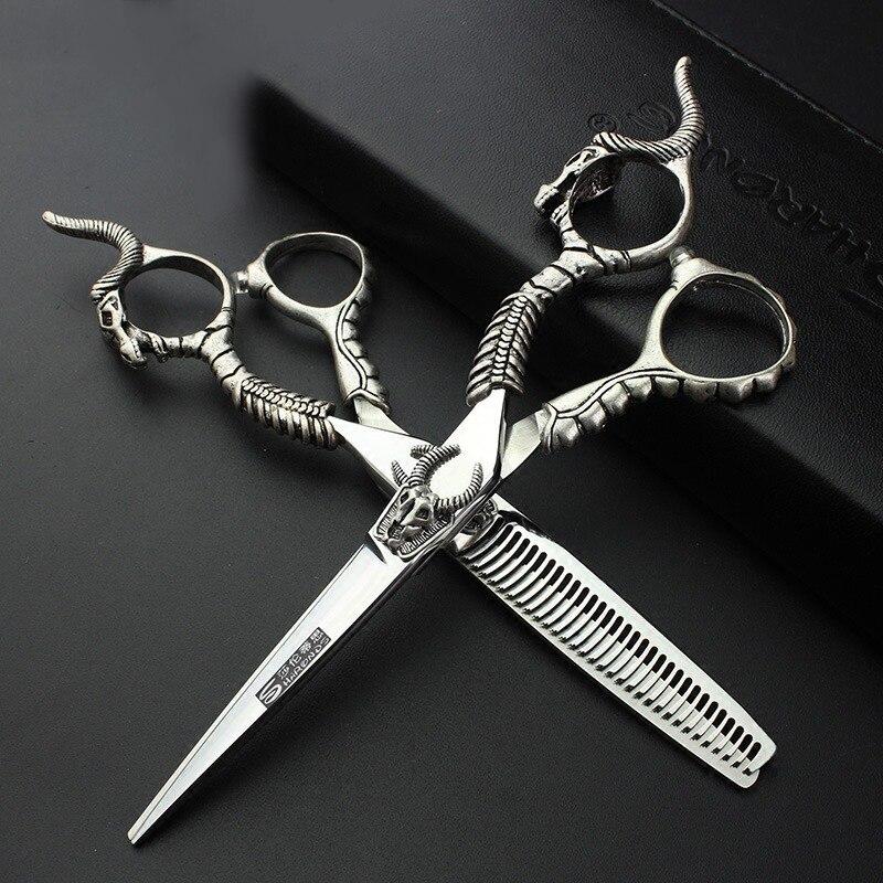 Ciseaux à cheveux professionnels pour la coiffure 5.5 pouces 6 pouces japon 440c Salon de coiffure rétro Salon coupe Clipper ciseaux amincissants
