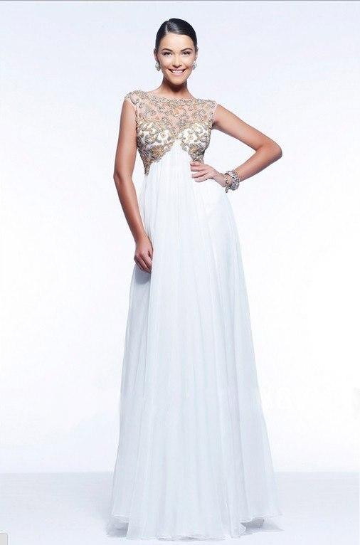 Белые платья из шифона в пол