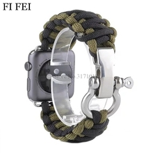 FI FEI Outdoors Sports Men's Watch Band Wrist Strap for Apple Watch 38mm 42mm 42 mm Series 1 2 3 Survival Rope Metal Bolt Clasp