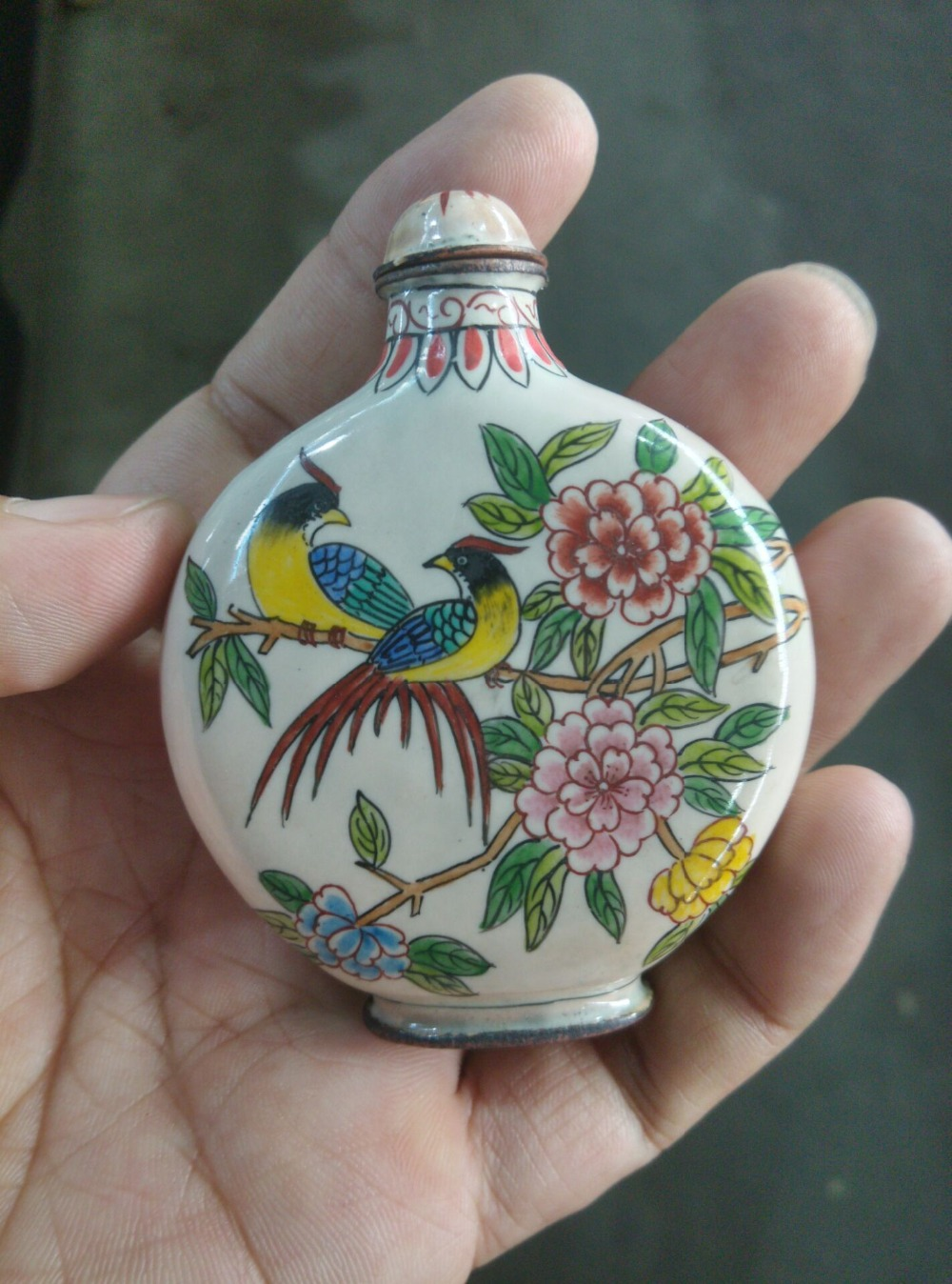 Collection old carved Cloisonne snuff bottle,Birds&Flowers, best ornament & collection, free shipping
