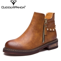 CuddlyIIpanda 2018 Spring British Style Chelsea Boots High Quality Fashion Star Rivets Ankle Boots Metal Decoration
