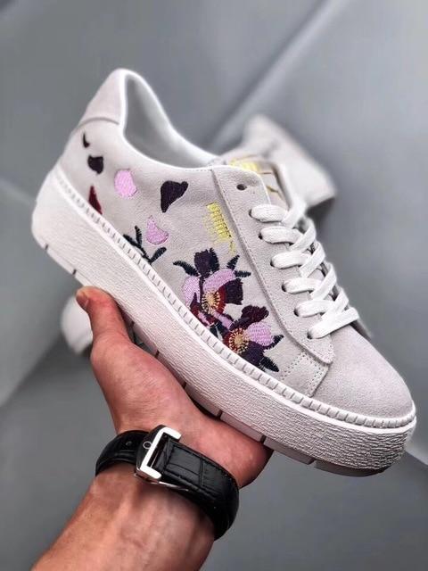 c8f5223d63b3 Puma Women s Skate Shoe Suede Platform Trace Flowery Animal Flat Shoe  Leisure Embroidered Cute Sport Shoe In Black White