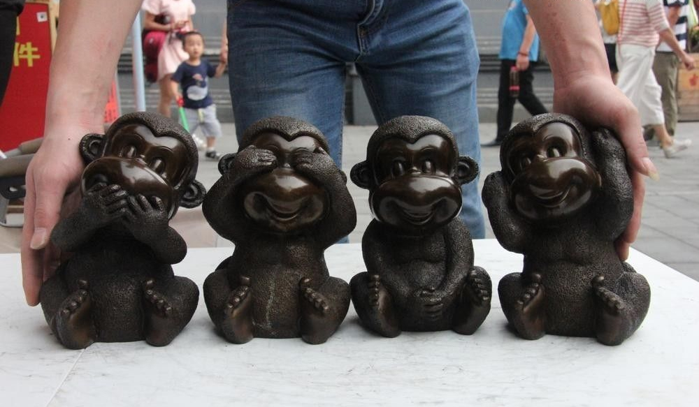China Bronze Copper Four Monkey Monkeys No Listen No See No Say No Do Set Statue
