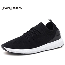 JUNJARM Breathable Men Sneakers Men Casual Shoes Adult Black High Quality Comfortable Non-slip Soft Mesh Men Shoes 38-46