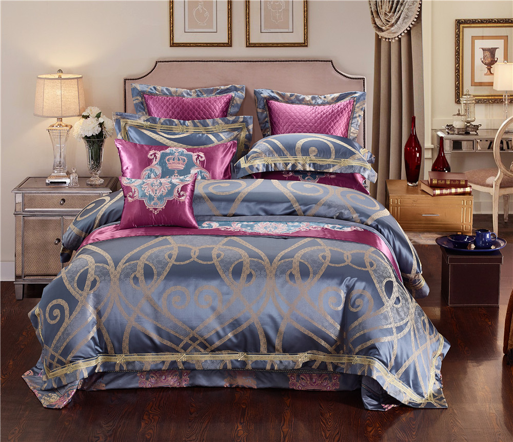 Pink BlueLuxury Stain Jacquard Duvet Cover Cotton Bed spread Bed sheet set Noble Bedding Set King/Queen Size Embroidered Bed setPink BlueLuxury Stain Jacquard Duvet Cover Cotton Bed spread Bed sheet set Noble Bedding Set King/Queen Size Embroidered Bed set