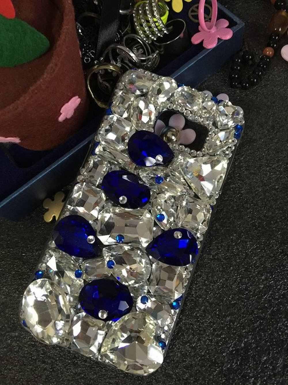 XINGDUO Clear Navy Blue Charm para iphone 8 funda brillante gemas cristales pedrería cubierta para iphone 5/6/7/ 8/X/XS/XR/XS.