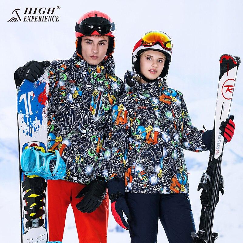 мужской горнолыжный костюм high experience - High Experience Winter ski jacket women snowboard jacket men mountain skiing jacket snow waterproof veste ski femme homme