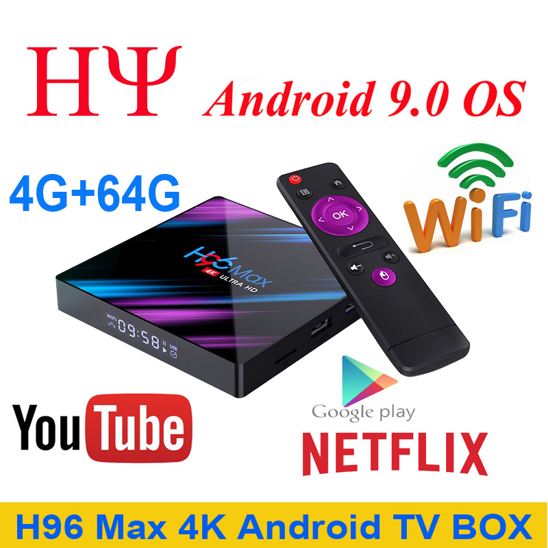 H96 MAX 9.0 Android TV Box RK3318 4GB RAM 64GB 32GB H.265 Media player 4K Google Voice Assistant Netflix Youtube H96MAX 2GB16GB